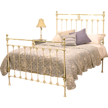 Cream Double Brass and Iron Bed