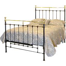 Black Cast Iron and Brass Double Bed