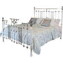 Victorian White Nickel Plated & Iron 6ft Wide Bed