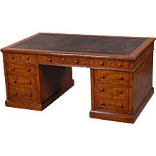 Mid 19th Century Figured Oak Partners Desk by Holland and Sons