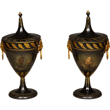 Good Pair of Regency Tole Work Chestnut Urns