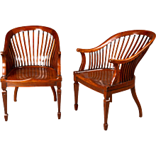 A Pair of Edwardian Walnut Club Chairs