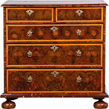 A Good and Visually Striking Charles II Oyster Veneer and Line Inlay Chest of Drawers