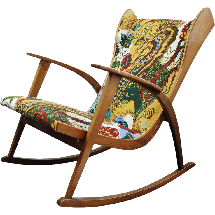 Knoll antimott rocking chair new fabric josef frank 1945 from martin bohn on rubylux - Knoll rocking chair ...