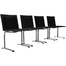 Giovanni Offredi four 'Inlay' chairs, Saporiti