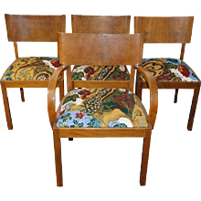 Hans Hartl 'Set of four chairs', original fabric  Josef Frank 'Cave', Svenskt Tenn