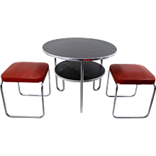 Mauser 'RC 5' Table with two stools, 1950's