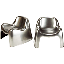 Metallic Sergio Mazza Toga Lounge Chairs