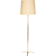 Italian Brass & Silk Floor Lamp 1950's