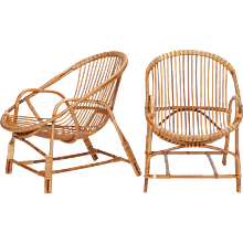 Pair of French Bamboo Wicker Chairs 1950's
