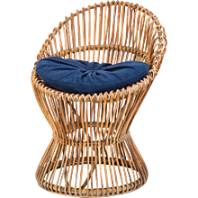 Italian Bamboo Wicker Chair in the Style of Franco Albini, 1950s