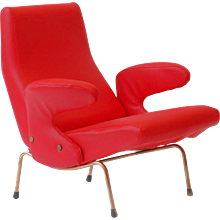 "Red ""Delfino"" armchair by Erberto Carboni, Arflex 1954"