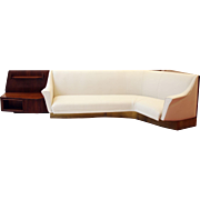 Important Italian Wall Unit, Large Curved Sofa and Shelfs by Dassi, 1940