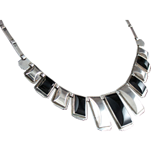 FRED DAVIS DECO NECKLACE 1930's SILVER & OBSIDIAN