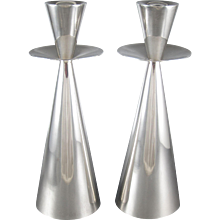 Antonio Pineda Modernist Silver Candlesticks