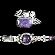 William Spratling Silver & Amethyst Pins