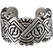 William Spratling Aztec Sterling Silver Cuff Bracelet Vintage 1940's