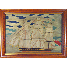A Large Sailor's Woolwork Woolie of a Ship, Circa 1875