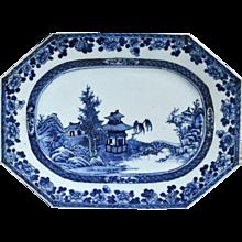 Chinese Export Underglaze Blue & White Porcelain Dish,  Circa 1760
