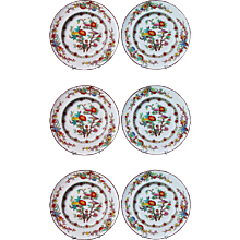 Antique English Wedgwood Set of Six Pearlware Botanical Plates, Circa 1870.