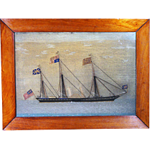 Sailor's Woolwork Woolie Picture of the Royal Yacht, HMY Victoria and Albert II, Circa 1855-65.