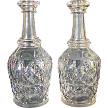 Mold-blown Bar Lip Decanters,  Pennsylvania Pattern, Bakewell, Pears & Co. Pittsburgh, Circa 1860.