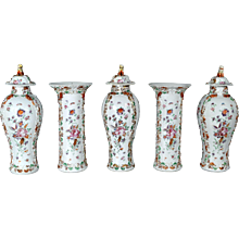 A Chinese Export Five Piece Famille Rose Porcelain Garniture of Vases, Circa 1775-85.