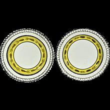 Liverpool Yellow-banded Openwork Creamware Dessert Plates,  Herculaneum.
