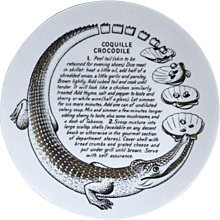 Piero Fornasetti Porcelain Recipe Plate, Coquille Crocodile, Made for Fleming Joffe,  1970's