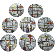 "Piero Fornasetti ""Orchestra"" Coasters-A complete Set of eight."
