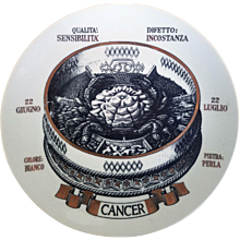 Vintage Piero Fornasetti Astrological Zodiac Plate-Cancer, Gli Zodiaci Farmacopei, No 8, Especially made for Crinos By Fornasetti