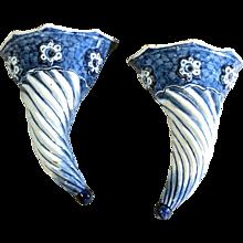 Liverpool Delftware Blue & White Spiral  Wall Pockets, Circa 1750.