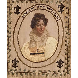 French Royal Painted Silk Textile Portrait, Marie Thérèse of France, Eldest daughter of Louis XVI and Marie Antoinette. Titled Madame Duc.  Angoulême.