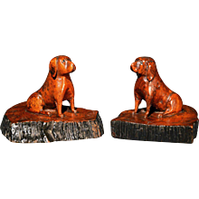 Oak Treen Dogs, 19th-Century.