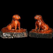 Oak Treen Dogs, 19th-Century.