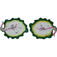 Pair of Chelsea Porcelain Tromp L'oeil Leaf Dishes, Circa 1755.
