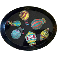 Piero Fornasetti Metal Tray with Palloni design- Hot Air Balloons, 1950s.