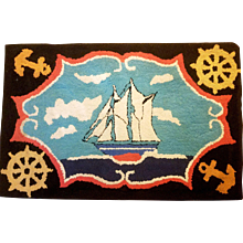 Vintage American Folk Art Nautical Hooked Rug,  20th century.