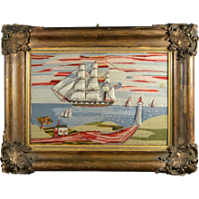 English Sailor's Trapunto Woolwork Picture of Ships off the Coast with Lighthouse. Circa 1860-70.