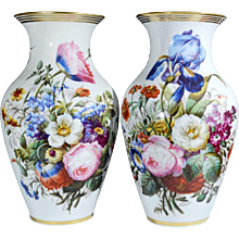 Pair of Paris Porcelain Botanical Vases