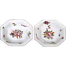 Antique English Chelsea Porcelain Dishes decorated with Vegetables, Circa 1758--60