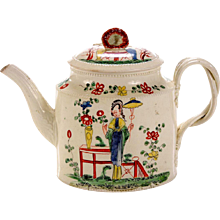 Antique Chinoiserie Creamware Pottery Teapot & Cover,  Melbourne, Derbyshire, Circa 1765.