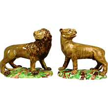 18th Century Pottery Pearlware Figures of Lion & Lioness, Late 18th-Early 19th Century.