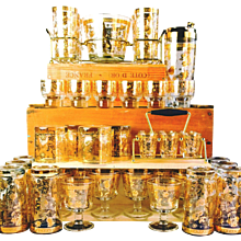 Vintage Culver Chantilly Pattern Forty Piece Glass Drinks Set.  1950s-early 60s.