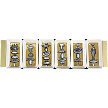 Piero Fornasetti Gold Appetizer Dishes on Original Tray,   Skewers Pattern