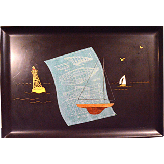 Mid-century Tray by Couroc with Model Boat, Marked and labeled, 1960s.