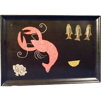 Mid-century Tray by Couroc with Lobster, 1960s.