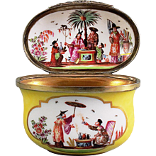 "A Meissen ""Chinoiserie"" Yellow-Ground Oval Snuff Box, circa 1730"