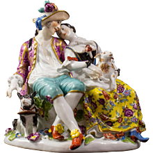 A Meissen Group of Shepherd Lovers