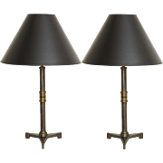 A Pair of Contemporary Steel Table Lamps with Tripod base